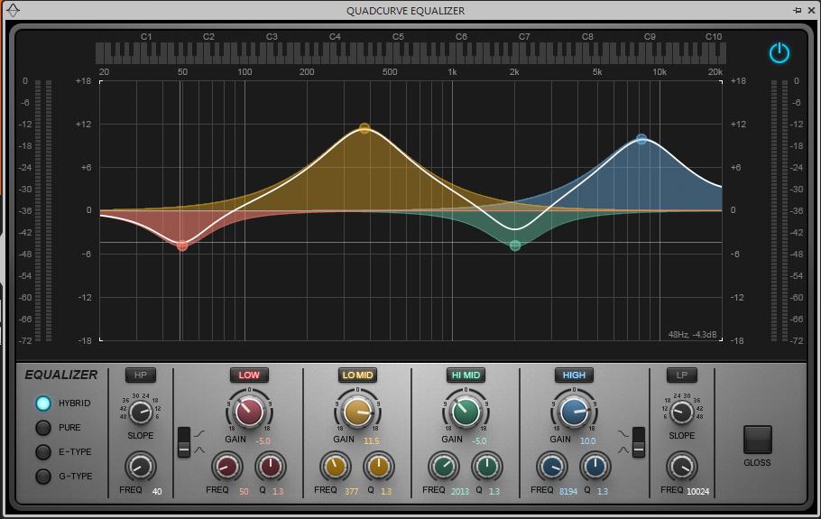 SONAR X3 修飾聲音的質感,EQ等化器的調整